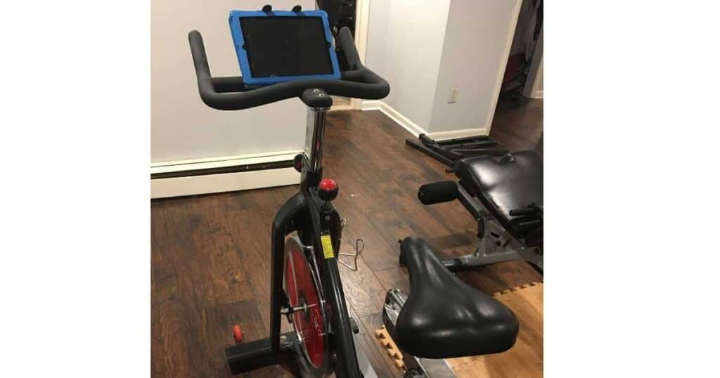 spin bike in home gym
