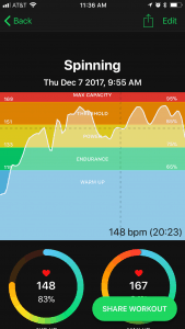 FitIv Pulse spinning workout graph