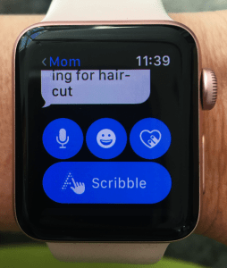 scribble text for the Apple Watch