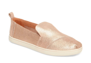 Toms deconstructed alpargata slip on metallic rose gold gift