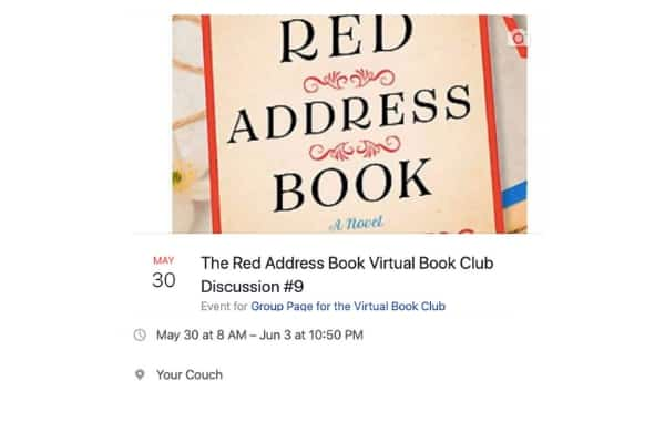The Red Address Book Virtual Book Club Event Information