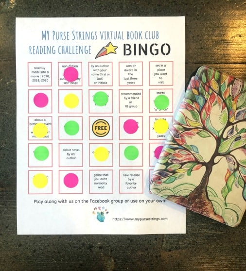 book bingo reading challenge squares with free space in center