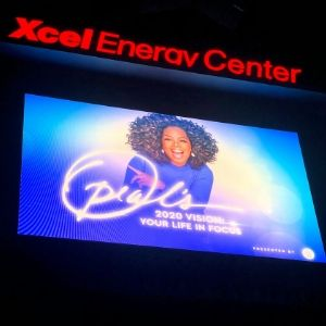 screen of oprah winfrey at the xcel energy center