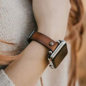 brown burnished leather apple watch band