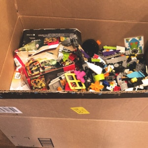 donate lego in cardboard box
